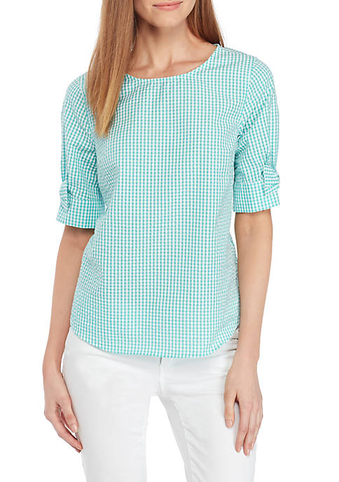 Crown & Ivy™ Short Sleeve Bow Sleeve Top