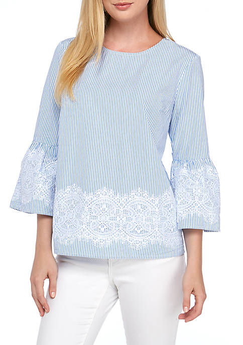Crown & Ivy™ Plus Size Three-Quarter Sleeve Lace