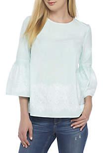 Plus Size Three-Quarter Sleeve Lace Trim Top