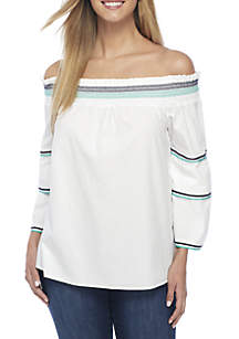Off-the-Shoulder 3/4 Sleeve Trim Top