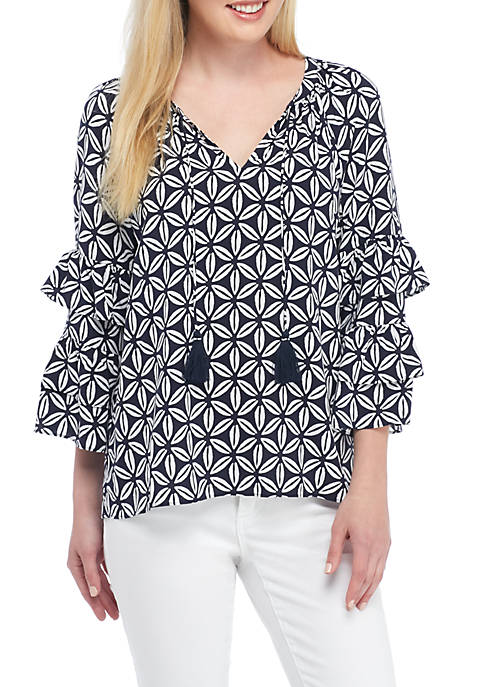 Crown & Ivy™ Long Ruffle Sleeve Print Top