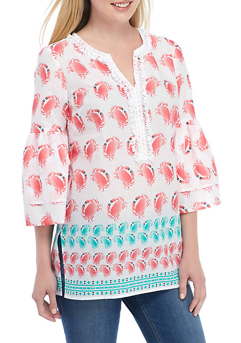 Crown & Ivy™ Three-Quarter Tier Printed Tunic