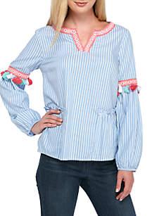 3/4 Sleeve Tassel Trim Yarn-Dye Blouse