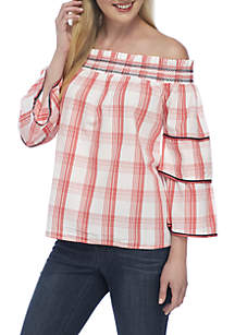 Off-the-Shoulder 3/4 Sleeve Trim Yoked Top