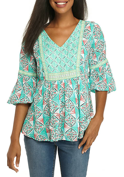 Crown & Ivy™ Three-Quarter Printed Peasant Top