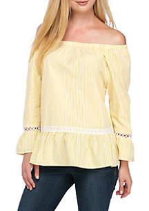 Off-The-Shoulder Crochet Yarn-Dye Top