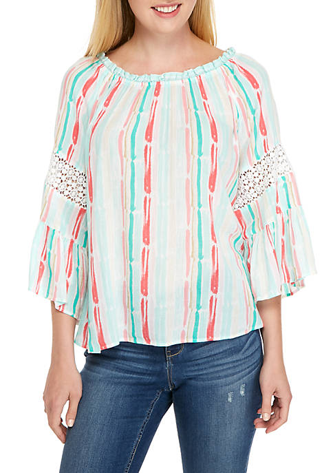 Crown & Ivy™ Off-the-Shoulder Watercolor Swing Top