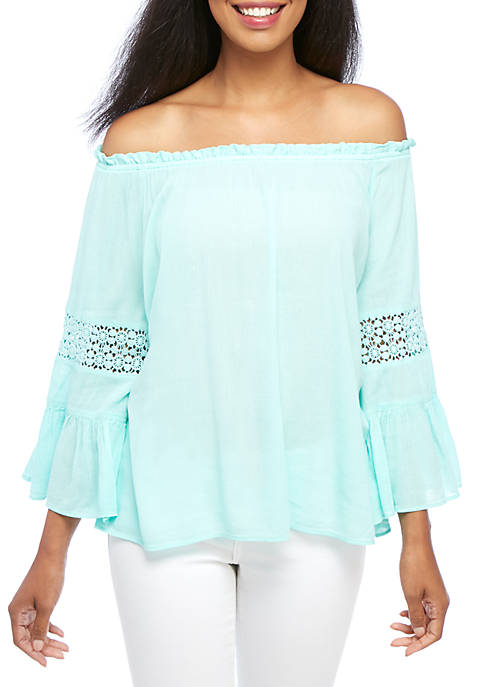 Crown & Ivy™ Long Exaggerated Sleeve Swing Top
