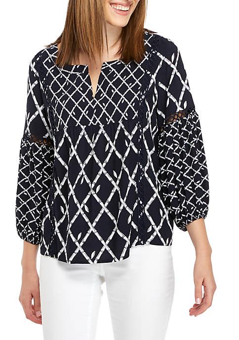 Crown & Ivy™ 3/4 Crochet Bell Sleeve Peasant