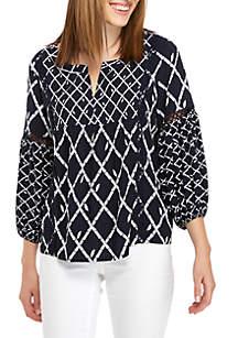 3/4 Crochet Bell Sleeve Peasant Top