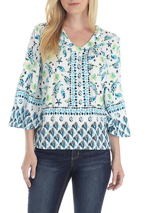 Crown & Ivy™ 3/4 Sleeve V-Neck Printed Peasant