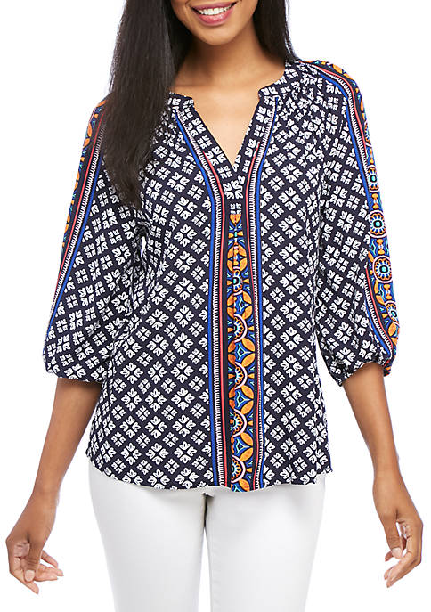 Crown & Ivy™ Blouson Sleeve Printed Peasant Top