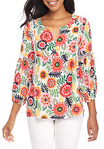 Three-Quarter Bell Sleeve Peasant Top