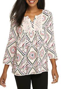 8c5cae86920a6 Crown   Ivy™. Crown   Ivy™ 3 4 Sleeve Mixed Print Peasant Top