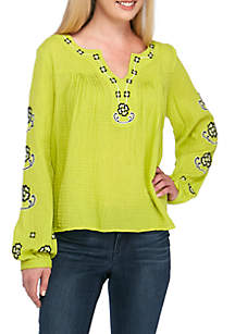Long Dolman Sleeve Embroidered Top