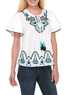 Double Sleeve Embroidered Solid Top