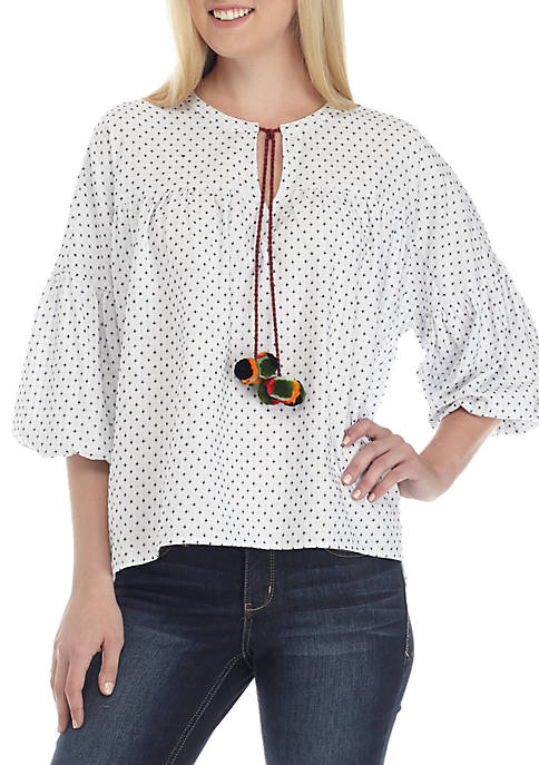Crown & Ivy™ 3/4 Balloon Sleeve Peasant Top