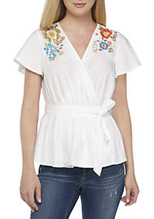 Short Sleeve Embroidered Surplice Neck Top