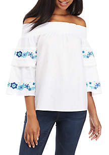 Three-Quarter Off-The-Shoulder Solid Top