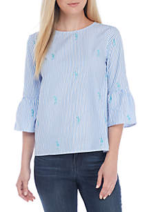 Three-Quarter Bell Sleeve Embroidered Top