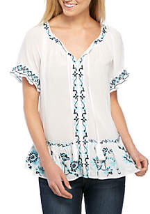 Short Sleeve Embroidered Ruffle Print Top