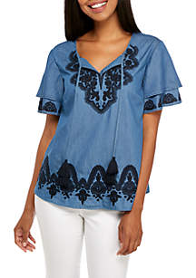 Double Short Sleeve Embroidered Solid Top