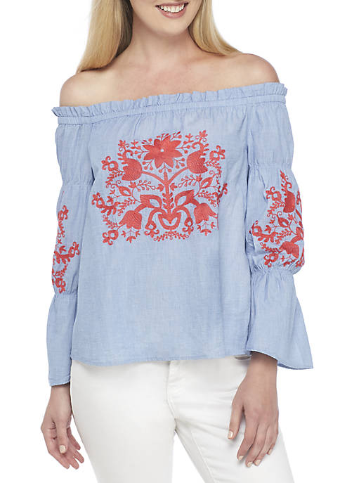 Crown & Ivy™ Long Sleeve Tier Embroidered Off-The-Shoulder