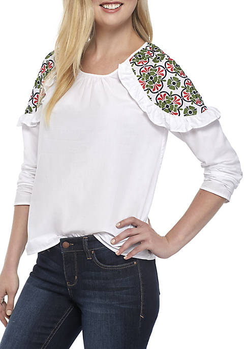 Crown & Ivy™ Solid Long Sleeve Embroidered Shoulder