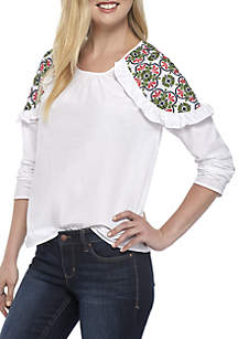 Solid Long Sleeve Embroidered Shoulder Ruffle Top