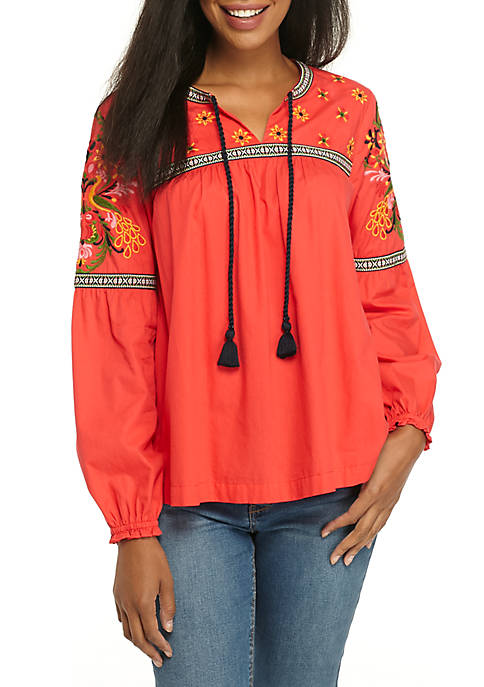 Crown & Ivy™ Long Sleeve Embroidered Peasant Blouse