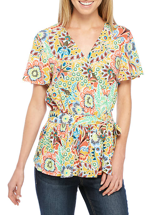 Crown & Ivy™ Short Sleeve Printed Surplice Top