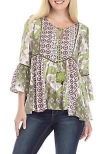 Three-Quarter Sleeve Printed Crochet Peasant Top