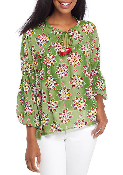 Crown & Ivy™ 3/4 Balloon Sleeve Peasant Blouse