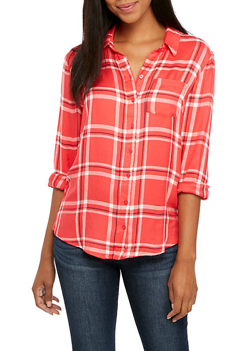Crown & Ivy™ Long Sleeve Plaid Blouse