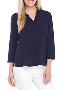 Ruffle Neck Solid Top