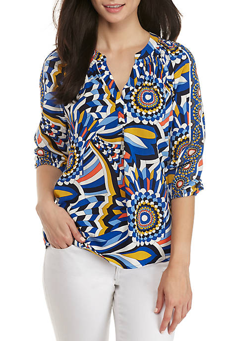 Crown & Ivy™ Three-Quarter Sleeve Core Printed Peasant