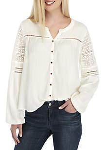 Long Crochet Shoulder Sleeve Solid Top
