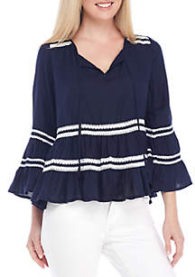 Bell Sleeve Waved Crochet Top