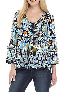 Three-Quarter Sleeve Tie Front Print Peasant Top