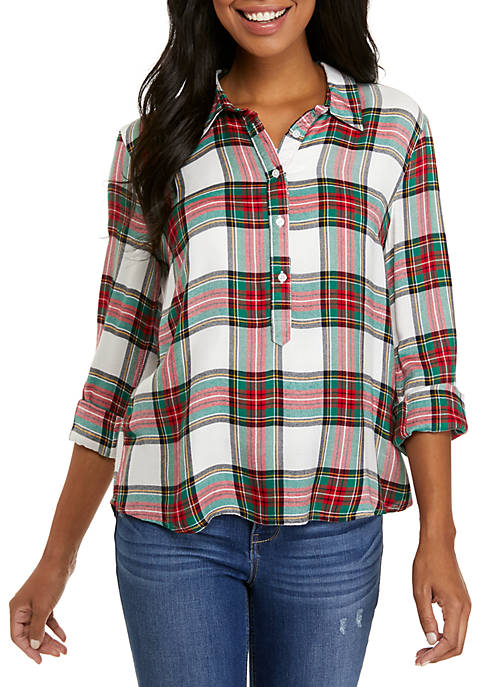 Crown & Ivy™ Long Sleeve Plaid Pullover Top