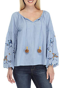 Long Embroidered Sleeve Peasant Top