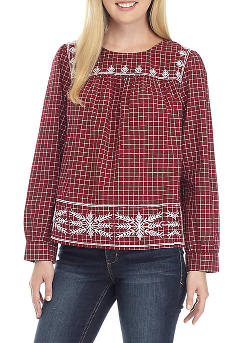 Crown & Ivy™ Long Sleeve Embroidered Yoke Top
