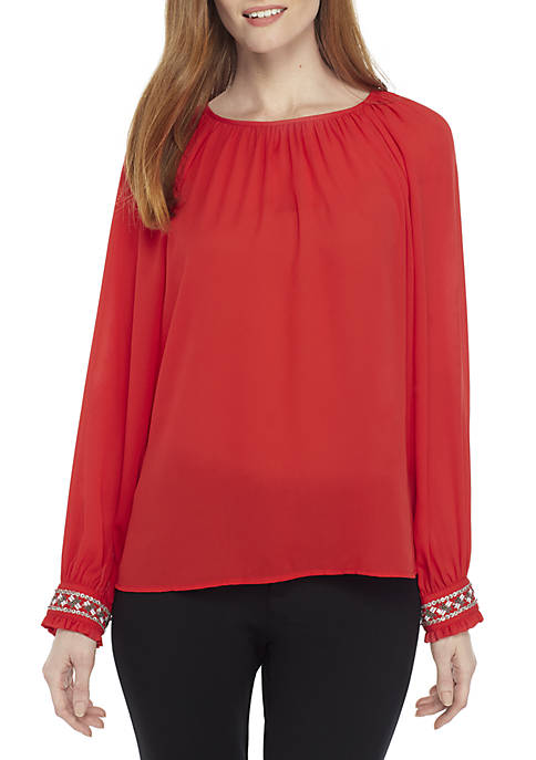 Crown & Ivy™ Long Sleeve Embellished Cuff Top