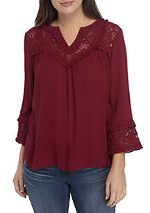 Long Sleeve Lace Yoke Solid Top