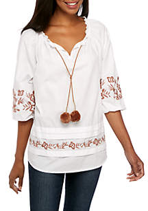3/4 Sleeve Embroidered Neck Top