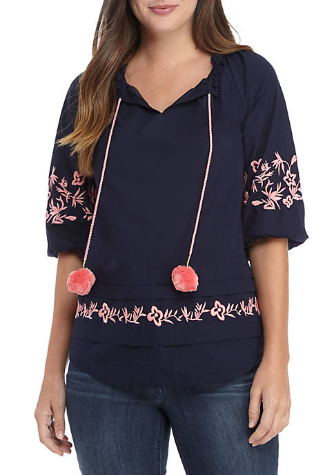Crown & Ivy™ 3/4 Sleeve Embroidered Neck Top