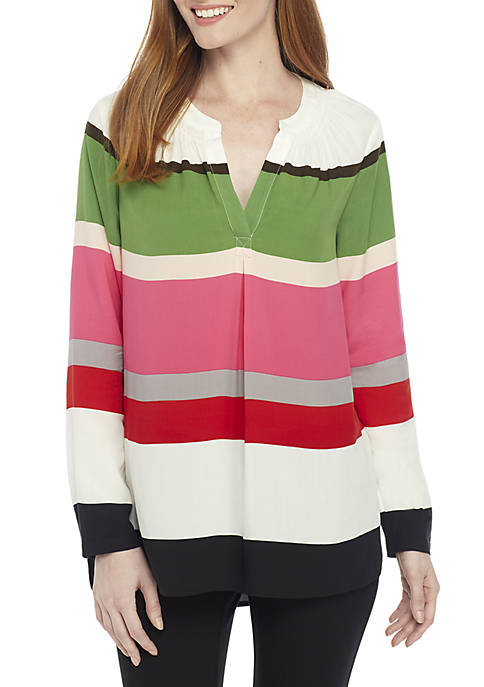 Crown & Ivy™ 3/4 Sleeve Striped Peasant Top