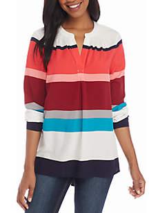 Three-Quarter Sleeve Print Peasant Tunic