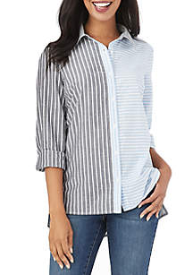 Long Sleeve Two Stripe Panel Top