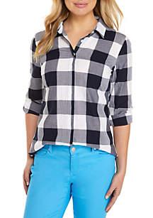 Long Sleeve Plaid Tunic